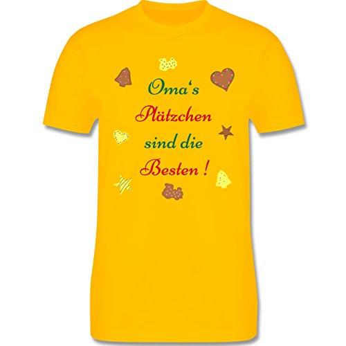 Weihnachten Geschenk für Erwachsene - Oma's Plätzchen sind die Besten Backen - L190 - Premium Männer Herren T-Shirt mit Rundhalsausschnitt Gelb