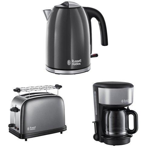 Russell Hobbs Colours Plus+ Storm Grey Wasserkocher + Colours Plus+ Storm Grey Toaster + Colours Plus+ Storm Grey Glas-Kaffeemaschine