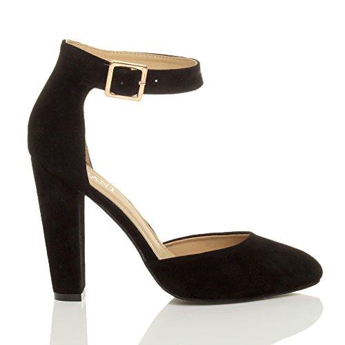 Femmes haute large talon boucle lanière pointu escarpins chaussures pointure Daim noir