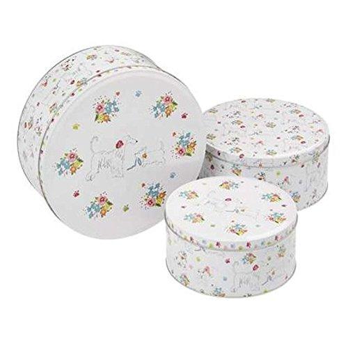 Cooksmart Dapper Motif chiens de cuisine Cupcake Cup Cake Cookie Biscuit Boîte de rangement Boîte cadeau Set of 3 Sizes