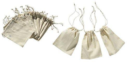 VBS Baumwollbeutel Set 12 Stück mit Bändchen 10x15 cm Beige