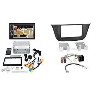 Iveco-Daily-6-ab-14-2-DIN-Autoradio-Navigation-und-Einbauset-mit-Iveco-Anschlusskabel-Antennenadapter-und-Radioblende-schwarz