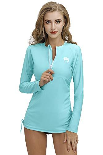 mode Rash Guard UV Shirts Langarm 1/4 Zip Surf Shirt Schwimmen Badeshirt UPF 50+ Aqua ()
