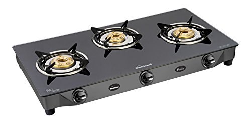 Sunflame GT Pride Glass Top Gas Stove, 3 Burner Gas Stove, Black (2 Year Warranty)