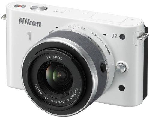 Nikon 1 J2 Systemkamera (10,1 Megapixel, 7,5 cm (3 Zoll) Display) Kit inkl. Nikkor VR 10-30 mm weiß 10,1 Mp Cmos-sensor