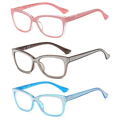 Suertree Lesebrille 3 Pack Computer Brille Herren Damen Lesehilfe für Frauen Männer Fashion Leser 3.5X BM361