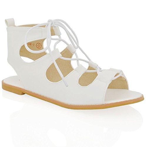 ESSEX GLAM Flache Damen Sommer Schuhe Riemchen zum schnüren Römischer Gladiator Sandalen Weiß Kunstleder