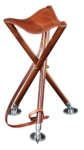 Sitzstock Dreibein TRIOLED 90, Sitzfläche aus stabilem Rindsleder in Sattlerqualität, Füße aus massiv Buchenholz, drei hochwertige Tellerspitzen, Leder-Tragriemen