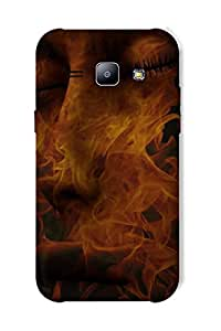 Timpax Protective Hard Back Case Cover With access to all controls and ports Printed Design : A face on fire.For Samsung Galaxy J1