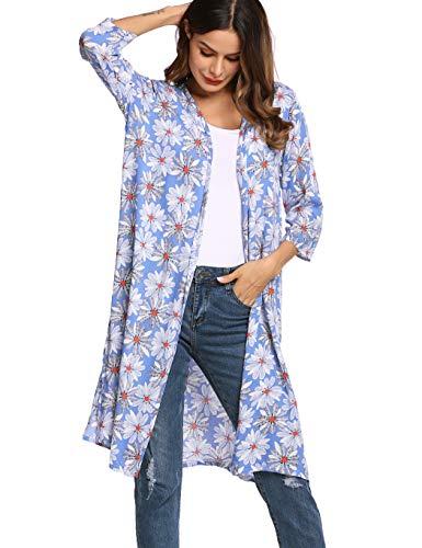 Skione Cardigan Damen Sommer Cover Up Strandponcho Pareos Kimono Blau 36 38