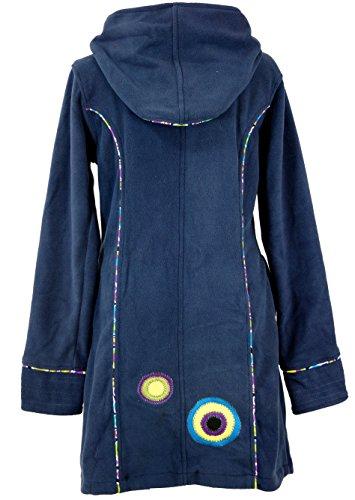 Guru-Shop Fleece Mantel Boho-chic, Damen, Kunstfaser, Boho Jacken, Westen Alternative Bekleidung Blaugrau