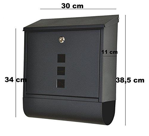 """nanook """"Piazza"""" Briefkasten schwarz – pulverbeschichtet – mit Zeitungsfach – 38,5 cm – für große Briefe und Zeitschriften - 4"""