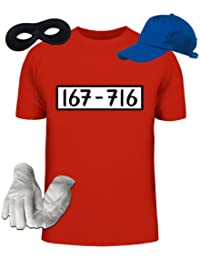 Kostüm für Panzerknacker Fans Fasching Karneval Herren T-Shirt+Cap+Handschuhe+Maske