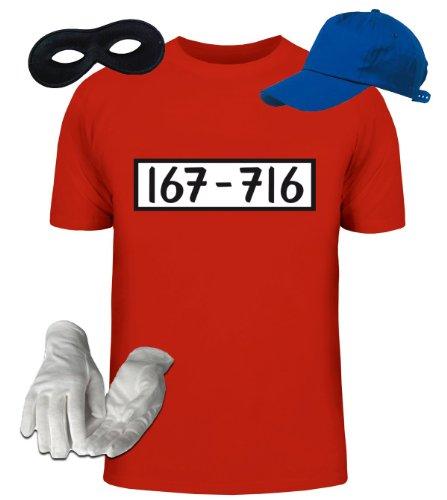ShirtStreet, PANZERKNACKER Kostüm Set, JGA Karneval Fasching Herren T-Shirt+Cap+Handschuhe+Maske, Größe: XL,rot