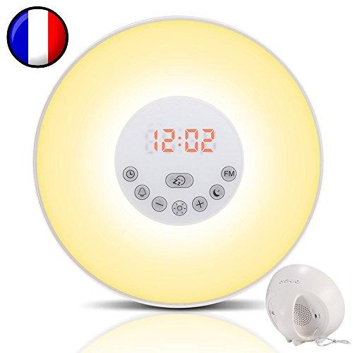 Simulateur d'aube pour un réveil lumineux tout en douceur - Dormez mieux avec le mode Nuit Noire -...