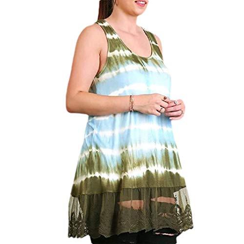 CuteRose Women Sleeveless Ombre Lace Patchwork Summer Tie Dye Loose Dress Light Blue XS