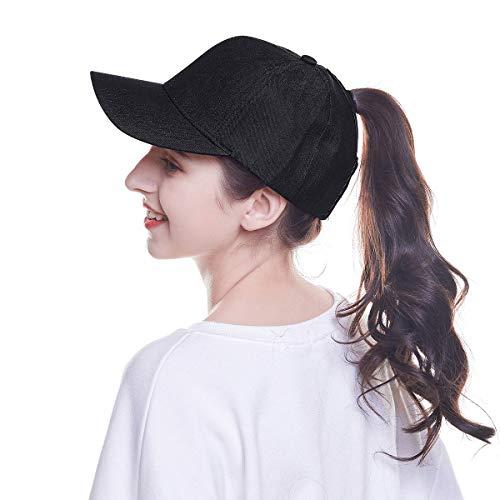WELROG Dame Baseball Kappe Hip-Hop-Hut Verstellbar Baumwolle Pferdeschwanz Cap (Schwarz #3) Hut Größen