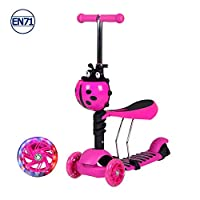 3-in-1 Kids Scooter 3 Wheel Scooter for boys girls with Removable Adjustable Seat with Flashing PU Wheel Age 1-8