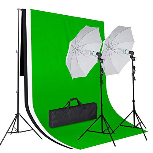 Amzdeal Kit de iluminación Profesional con 1* Soporte de Fondo+2* Paraguas fotografía+3*Fondos para fotografía+2 * 125w Bombillas+2*trípode+1*Bolsa Transporte para Estudio fotografia
