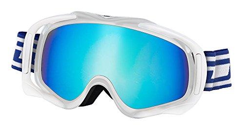 Dirty Dog Skibrille Outrigger in weiß mit blau Fusion Objektiv