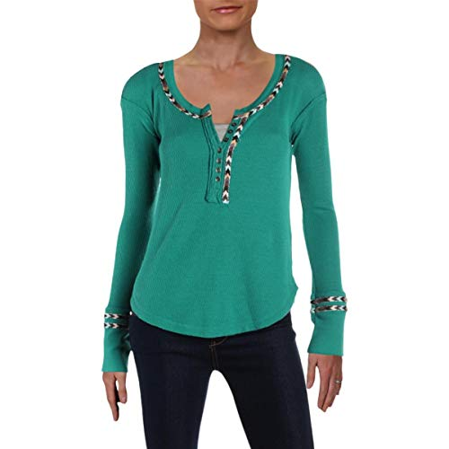 Free People Solid Womens Large Henley Thermal Knit Top -