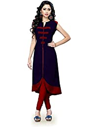 Muta Fashions Navy Blue Solid Fancy Women's Kurti ( Semi Stitched_Free Size_Navy Blue_KURTI48 )