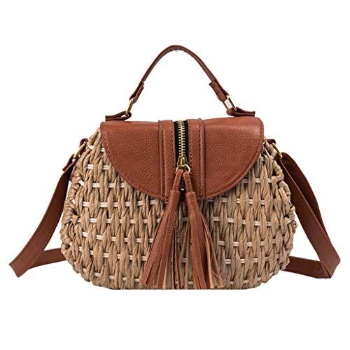 SuperSU Handtaschen ▶▷ Damen Mode Retro Geflochtene mit Quasten Henkeltaschen Hüfttaschen Lässiges Umhängetasche Brusttasche Schultertasche handtaschenhalter Schule Shopper Arbeit -
