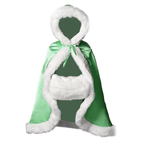 Umhang Cape Mit Kapuze Kinder Winter Warm Kunstpelz Für Hochzeit Halloween (Made Kostüme Custom Märchen)