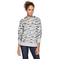 Amazon Essentials - Sudadera de tejido de rizo francés con capucha y forro polar para mujer, Verde (Grey Camo), US M (EU M - L)