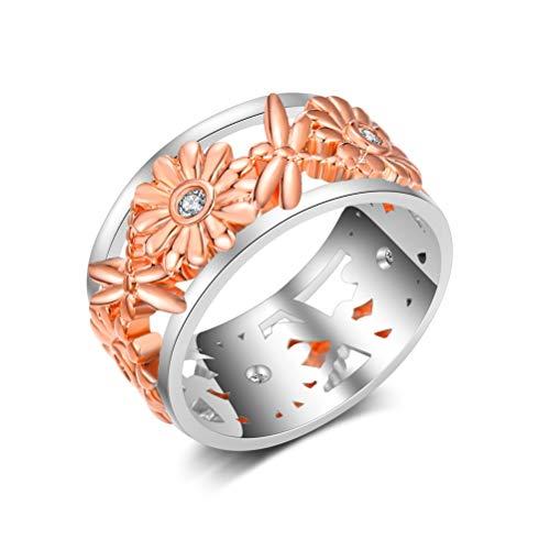 Damen 925 Sterling Silber Ring, Mode Rose Gold Hohlen Sonnenblumenöl Libelle Form Glänzend Diamond Neuheit Finger Ring, Festival Geschenk Jahrestag Hochzeit Verlobung Versprechen Brautschmuck