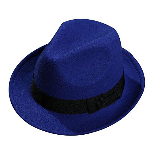 Sitong Unisexe r¨¦tro bowknot laine feutre chapeau de jazz Bleu