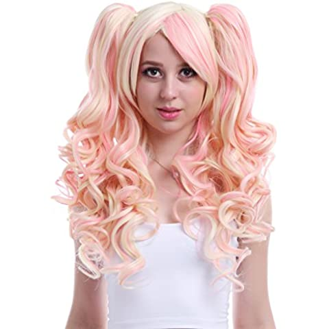 L-email Long Mixed Pink/blonde Anime Lolita Clip on Ponytail Wavy Cos Wig Rw139-a+ free wig cap net by L-email
