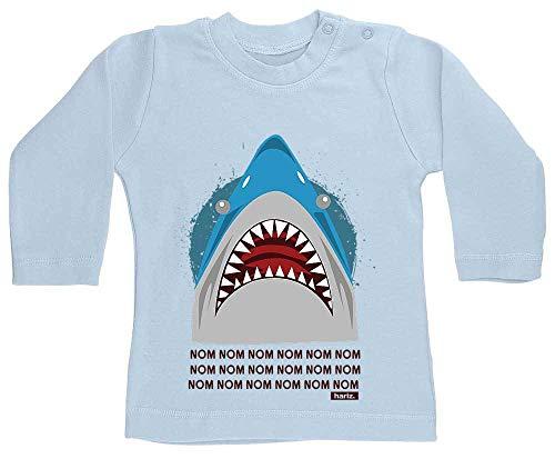 Hungrig Langarm (HARIZ Baby Shirt Langarm Hungriger Hai Tiere Kindergarten Plus Geschenkkarte Himmel Hell Blau 12-18 Monate)