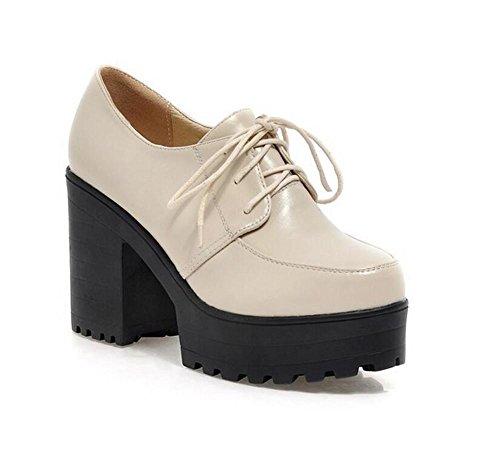 Women s scarpe casual piattaforma impermeabile pizzo punta rotonda di spessore con elevata - heele scarpe croce cinghie beige