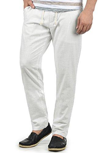 Blend Bonavo Herren Leinenhose Sommerhose Lange Stoffhose In Leinen-Optik Aus 100% Baumwolle Regular Fit, Größe:XL, Farbe:White (70002)
