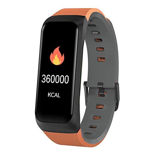 UMGZY Fitness-Tracker Pulsuhr Blutdruck Blutsauerstoffsättigung Pedometer Smart Armband Uhr Frauen oder Herren Pulsuhr Wasserdichte Smart Watch für Android IOS,Orange