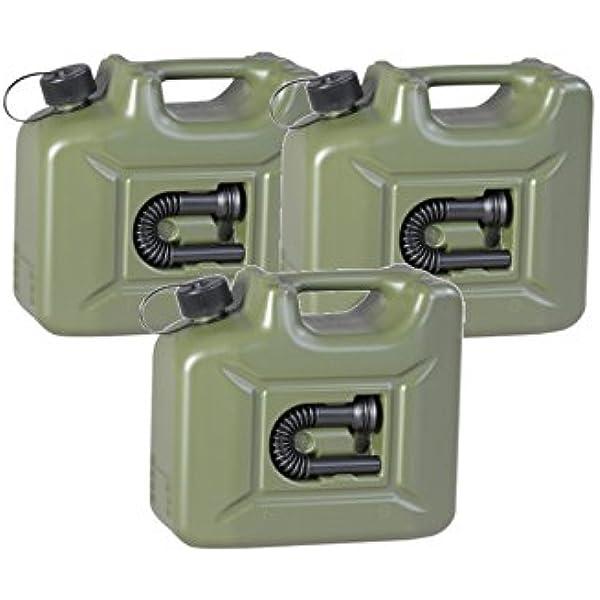 3er Set 3x Benzinkanister Profi 10 Liter Oliv Grün Army Kraftstoffkanister 10l Auto