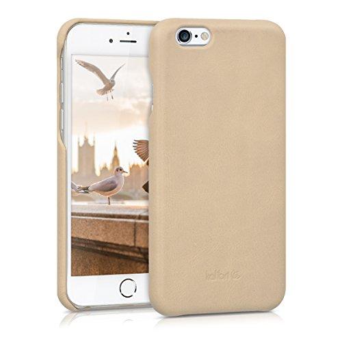 kalibri Hülle kompatibel mit Apple iPhone 6 / 6S - Leder Handy Cover Case - Hardcover Schutzhülle Beige