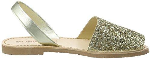 Solillas Gold Glitter, Scarpe Col Tacco con Cinturino a T Donna Gold (Gold)