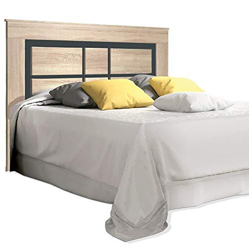 duehome HomeSouth - Cabezal para Cama de Matrimonio, cabecero Modelo Lara, Color Cambria y Grafito, Medidas: 160 cm (Ancho) x 119,3 cm (Alto) x 3,8 cm (Fondo)