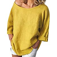 Women O-neck Long Sleeve Tops ❀ Ladies Solid Casual Linen T-Shirt Loose Pullover Top Blouse Fashion Tee Shirt
