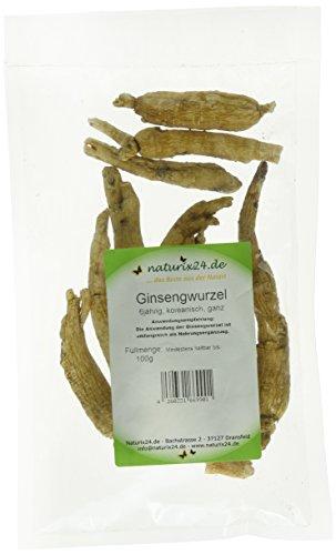 Naturix24 Ginseng, Ginsengwurzel weiß ganz – Beutel, 1er Pack (1 x 100 g)