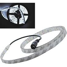 JnDee luz blanca fría 1 m resistente al agua Flexible tira de bombillas LED regulables, 100 cm 1 Metre 60 6060 Bright 5050 SMD LED, 12 V Ideal para jardines, casas, acuarios, coches, Etc 3 veces más brillante que el 3528Strips