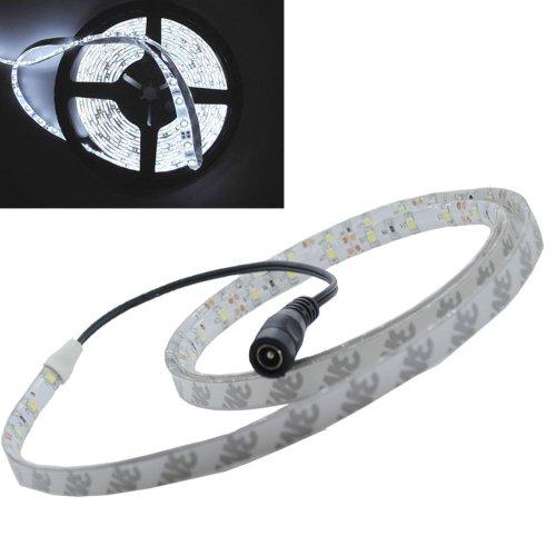 JnDee LED-Band, Kaltweiß, 1m, wasserdicht, dimmbar, flexibel, LED-Streifen, 60helle 5050-SMD-LEDs, 12V, ideal für Gärten, Haushalte, Aquarien, Autos etc. 3-mal heller als der Streifen 3528 Band Night Light