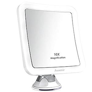 Auxmir Kosmetikspiegel LED Beleuchtet mit 10x Vergrößerung, Starkem Saugnapf und 2 Helligkeitsstufen, 360° Schwenkbar, Schminkspiegel Quadratisch mit Blendfreier Beleuchtung für Zuhause und Unterwegs