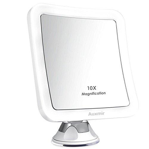 Auxmir Kosmetikspiegel LED Beleuchtet mit 10-facher Vergrößerung und Starkem Saugnapf, 360° Schwenkbar, Schminkspiegel viereckig mit Blendfreier Beleuchtung für Zuhause und Unterwegs