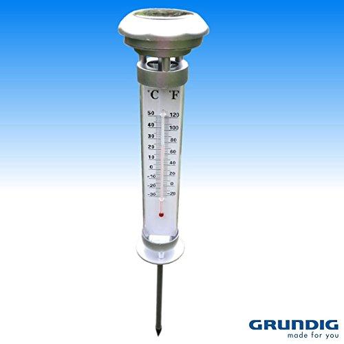 Preisvergleich Produktbild GRUNDIG GARTEN BALKON mit THERMOMETER GARTENTHERMOMETER mit SOLAR LED LEUCHTE - 57cm HOCH