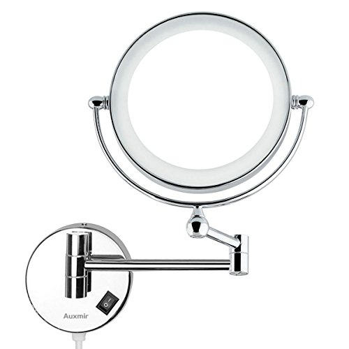 Auxmir Kosmetikspiegel mit LED Beleuchtung und 1-/ 5-facher Vergrößerung aus Kristallglas, Edelstahl und Messing, Doppelseitig, Rostfrei, Schminkspiegel Beleuchtet für Badezimmer, Kosmetikstudio, Spa und - Beleuchtete Make-up-spiegel Wand