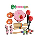 Elenxs 11pcs Kleinkind Kinder Rattle Handbell Preschool Musical Toys Set