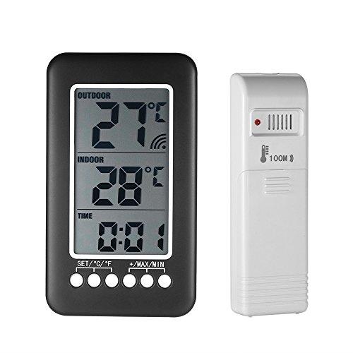 KKmoon Orologio Senza Fili del Termometro, Misuratore di Temperatura con Trasmettitore (Interno/ all\'aperto),Nero